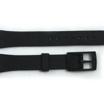 12mm Ladies Black Soft PVC Replacement Watch Band Strap fits SWATCH watches