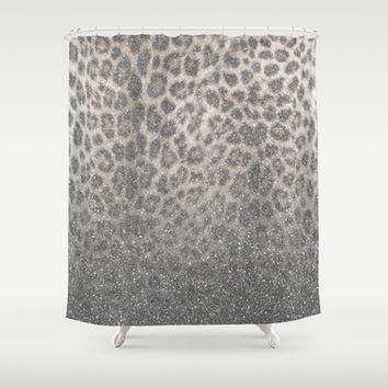 Shimmer (Snow Leopard Glitter Abstract) Shower Curtain by soaring anchor designs ⚓ | Society6