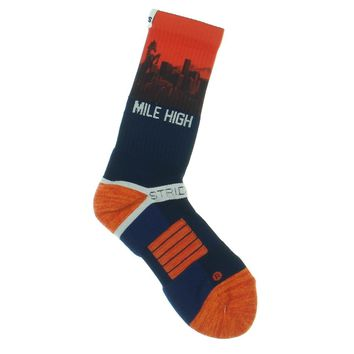 Strideline 2.0 Denver Broncos Adult City View Blue Orange Crew socks
