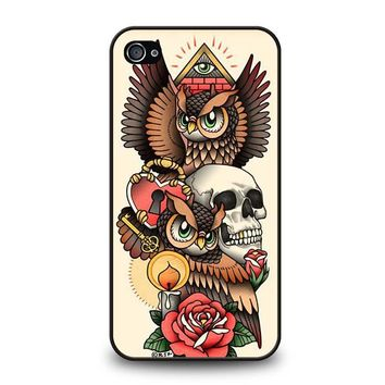 OWL STEAMPUNK ILLUMINATI TATTOO iPhone 4 / 4S Case Cover