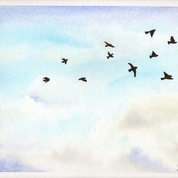 Original watercolor Painting - Birds in the sky