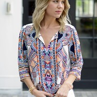 Geo Print Blouse - Glam Abstract Print Top - $65.00 | Hand In Pocket Boutique
