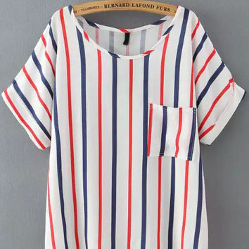 Red Blue Vertical Striped Pockets Short Sleeve T-Shirt