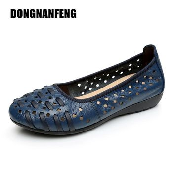 DONGNANFENG Mother Women Shoes Old Flats Hollow Out Cow Genuine Leather Slip On Loafers Casual Vintage 5 Colors 34-43  HN-1627