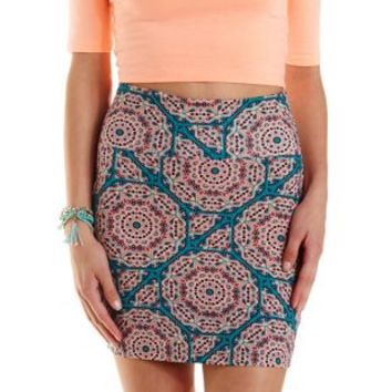 Turquoise Tile Print Bodycon Mini Skirt by Charlotte Russe