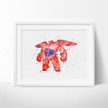 Baymax, Big Hero 6 Watercolor Art Print