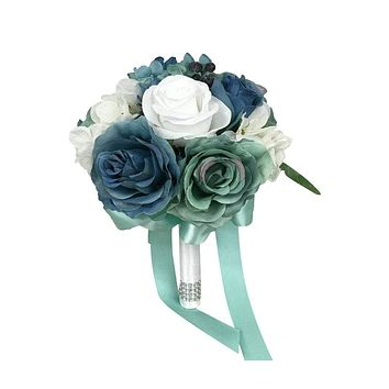 "8"" Bouquet -Shades of blue teal artificial flower bouquet silk hydrangea, roses, and berries"