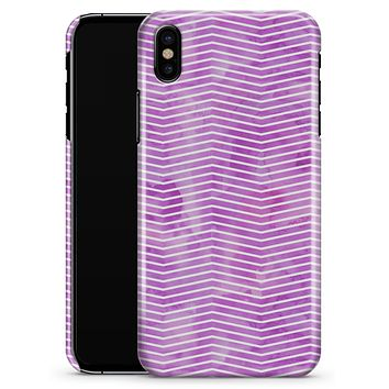 Clouded Purple Grunge Over White Chevron - iPhone X Clipit Case