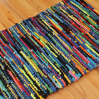 Rag Rug T Shirt Utility Crayon Brights Red Blue Laundry Workshop Mud Room Mat Modern Cottage Rainbow 25 in x 37 in --US Shipping Included