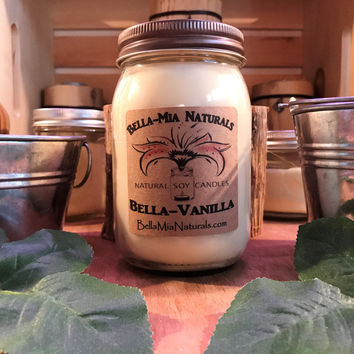 Bella-Vanilla Natural Hand Poured Soy Candles