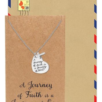 Darby Cross and Heart Pendant Necklace, Religious Jewelry with Greeting Card