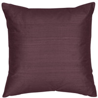 The Silk Group SQ_Shant_Sol_Medium_Plum_18x18_Poly Medium Plum 18x18-Inch Silk Shantung Square Poly Insert Decorative Pillow