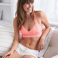 Aerie Lace Cross-Back Bralette , Current Coral