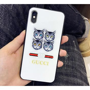 GUCCI Popular Four Cats Letter Pattern Iphone7 Iphone8 8 Plus Iphone X Phone Shell 6s Iphone 6plus Phone Glass Case White I12406-11