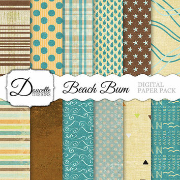 Instant Download-Beach Bum Summer Rustic Coastal Coast Chic Digital Scrapbooking Paper Pack Personal and Commercial Use