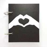 ustom journal, notebook, sketchbook, diary, ring binder, blank unlined pages notepad, typography, customized, valentines, hands heart love