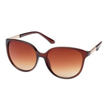 Gold-Trimmed Round Cat Eye Sunglasses - Brown Combo