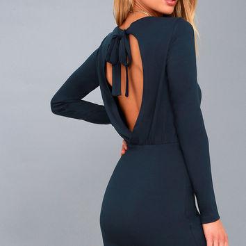 Vision of Love Navy Blue Long Sleeve Bodycon Dress
