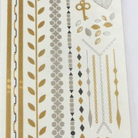 Temporary Metallic Jewelry Gold Silver Flash Tattoos - Variation 7