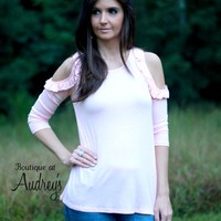 Sweet Claire Light Pink Cold Shoulder Knit Top with Ruffle Detail