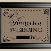 8x10 Reception Pointing Personalized Last Name Vintage Rustic Wedding Sign