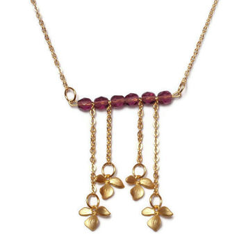 Orchid necklace, purple crystal beads necklace, tassel necklace, gold plated orchid necklace by SABOTAGEandCO