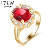17KM 3 Color Big Gold Color Crystal Flower Wedding Rings For Women Anillos Mujer Anel Bague Femme Love Jewelry Party Ring