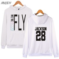 MULYEN Kpop Got7 Hoodies For Women Fashion Member Name Print Fleece Sweatshirt Women Pullover Hoodie Tracksuit Sudaderas