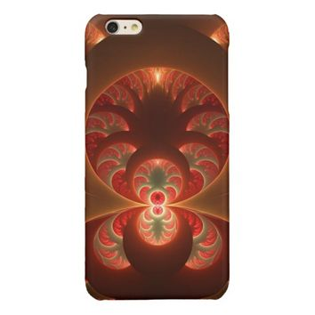 Luminous abstract modern orange red Fractal Glossy iPhone 6 Plus Case