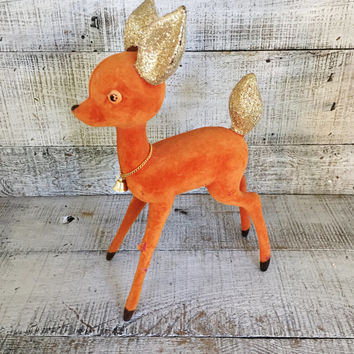 Deer Figurine Large Reindeer Figurine Retro Christmas Decor Plastic Deer Retro Bambi Kitsch Fawn Hipster Christmas Mid Century Holiday Decor