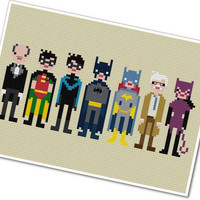 Pixel People  Batman & Friends  by weelittlestitches on Etsy