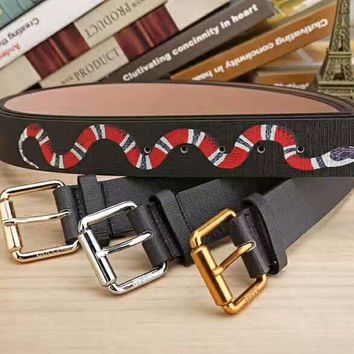 GUCCI black snake print Woman Fashion Smooth Buckle Belt Leather Belt H-A-GFPDPF