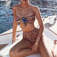 High waist Knot Pleated Bathing Suit