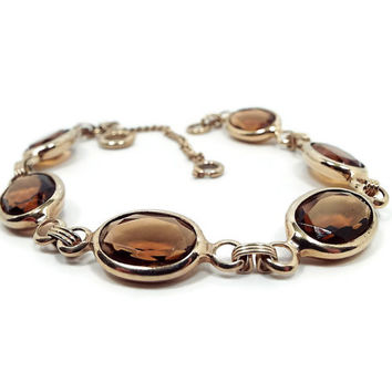 Topaz Brown Vintage Bracelet Sarah Coventry 1960s Gold Tone Link with Safety Chain Elegant Womens Mid Century