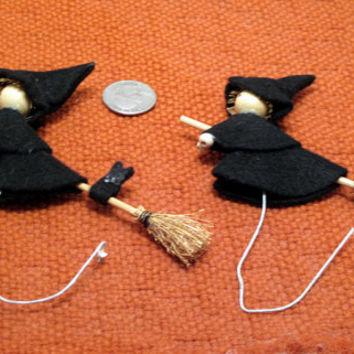Halloween, Witch, Broom, Black, Cat, Felt, Spooky, Decor, Trick or Treat, Ornament, Supply, Goth, Punk, Retro, Happy, Scary, Hipster, Kids