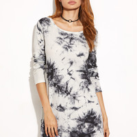 Mini Print Ribbed Dress