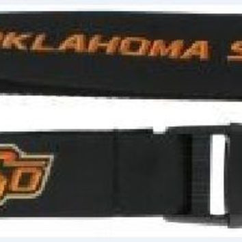 Oklahoma State Cowboys Lanyard Keychain Badge Holder Breakaway Black Licensed