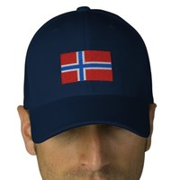 Norway flag embroidered flexfit wool hat embroidered baseball cap from Zazzle.com