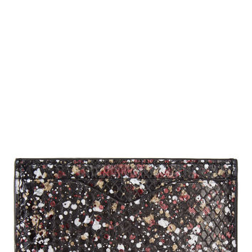 Alexander Mcqueen Black And Burgundy Cosmic Python Embossed Card Holder