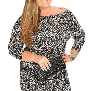 Grey Black Diamond Print Knee Length Sexy Plus Size Dress