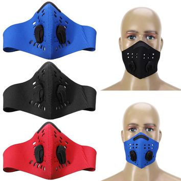 Dustproof Cycling Face Mask PM2.5 Filter Two Exhale Valves Mouth-Muffle Dust Mask Bicycle Sports Masks Cover Protective 3Colors