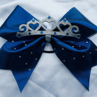Blue spandex tiara  Cheer Bow