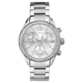 Women's Timex® Chronograph Watch with Crystal Bezel - Silver