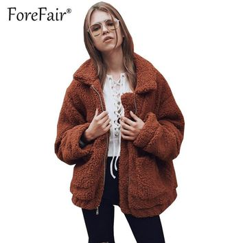 Trendy Forefair Faux Fur Teddy Coat Women 2018 Autumn Winter Warm Oversize Jacket Coats Thick Plush Zipper Overcoat Casual Outerwear AT_94_13