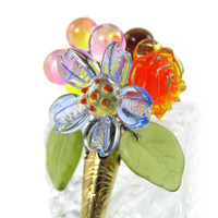 Flower Pin, Blooming, Bouquet Brooch,Vintage French Glass,Vintage Inspired, Sale