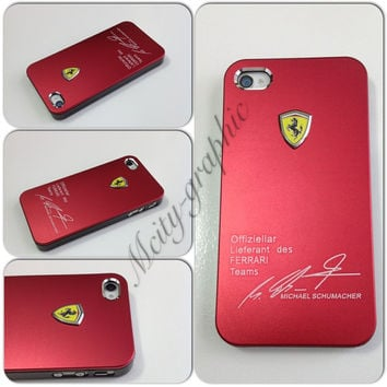 Custom iPhone 5 Case FERRARI Series Sport Car Carbon Aluminum metallic Cover  - Red