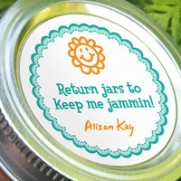 Return Jars to Keep Me Jammin, funny custom round stickers to get canning jars returned