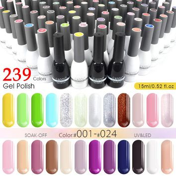 CANNI Gel Varnish 15ml New Factory Supply 240 Colors Lacquer Nail Art Beauty Gel Paints Design Soak off UV LED Nail Gel Polish