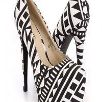 Black White Pattern Canvas Platform Pump Heels
