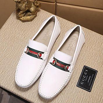 Gucci Men's 'Jordaan' Horsebit Calfskin Leather Loafer Shoes Best Quality white